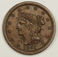 1851 HALF CENT.  COUNTER STAMPED