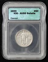 1920 STANDING LIBERTY QUARTER ICG AU50 DETAILS CLEANED