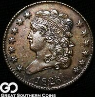 1826 HALF CENT, CLASSIC HEAD,  CHOICE AU EARLY COPPER  SHIPS FREE