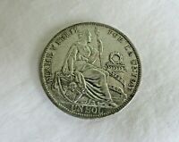 PERU  UNC 1930 1 SOL SILVER COIN 25 GR 500 SILVER ONLY 12 95