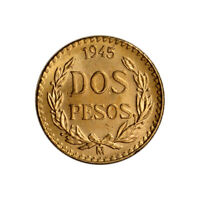 1945 MEXICO GOLD 2 PESOS  .0482 OZ    BU