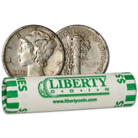 90  SILVER MERCURY DIMES   ROLL OF 50   $5 FACE VALUE