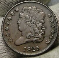 1825 CLASSIC HEAD HALF CENT -  COIN, KEY DATE, ONLY 63,000 MINTED 7486