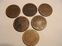 6 PC. DATE SET OF TWO CENT PIECES - 1864 TO 1869