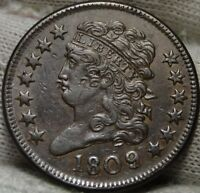 1809 CLASSIC HEAD HALF CENT -   COIN, SHIPS FREE 4830