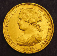 1868  1873  KINGDOM OF SPAIN QUEEN ISABELLA II. GOLD 10 ESCU