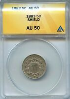 1883 5C ANACS AU 50 ABOUT, ALMOST UNCIRCULATED SHIELD NICKEL