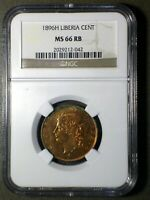 REPUBLIC OF LIBERIA 1896 1 CENT  NGC MS 66RB  A REAL BLAZER