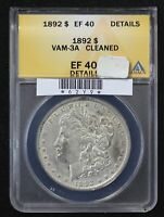 1892 MORGAN DOLLAR ANACS EXTRA FINE -40 VAM-3A DOUBLED REVERSE CLEANED