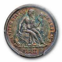 1881 10C SEATED LIBERTY DIME PCGS EXTRA FINE  45 EXTRA FINE TO AU RAINBOW TONED BEAUTIFUL