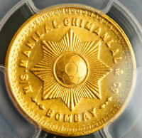 1940S INDIA BOMBAY MANILAL CHIMANAL & CO. GOLD DIAMOND TOLA COIN. PCGS UNC
