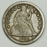 1859-S SEATED LIBERTY DIME.  V.F.  136944