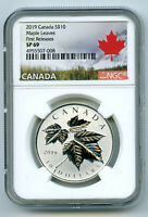 2019 CANADA $10 1/2OZ .9999 SILVER NGC SP69 MAPLE LEAF LEAVE