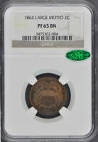 1864 LARGE MOTTO TWO CENT PIECE 2C NGC PR65BN CAC