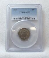1869 SHIELD NICKEL CERTIFIED PCGS AU 55 5-CENTS