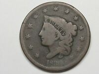 1836 US CORONET HEAD LARGE CENT COIN.  18