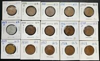 LOT OF 15X USA LINCOLN WHEAT SMALL CENT PENNIES - DATES: 1919 TO 1953