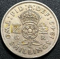 1949 GREAT BRITAIN TWO SHILLINGS COIN - FREE COMBINED SHIPPING