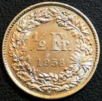 1958 SWITZERLAND 1/2 HALF FRANC 83.5 SILVER COIN - GREAT CONDITION,  DETAIL