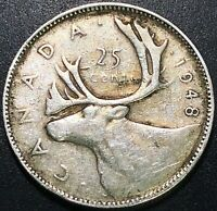 1948 CANADA SILVER 25 CENTS QUARTER - 80 SILVER COIN - KEY DATE