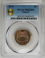 1873 2C CLOSED 3, RB TWO CENT - PCGS PR62RB CERTIFIED US  COIN
