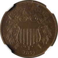 1871 TWO 2 CENT PIECE PROOF NGC PF65BN GREAT EYE APPEAL  LUSTER