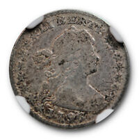 1796 DRAPED BUST HALF DIME NGC F 12 FINE LM-1 LIKERTY VARIETY EARLY US TYPE