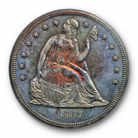 1867 $1 SEATED LIBERTY DOLLAR ANACS PF 63 PROOF PR COLORFUL TONED BEAUTY LOW