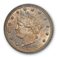 1883 5C WITH CENTS LIBERTY HEAD NICKEL ICG MINT STATE 66 UNCIRCULATED TONED BEAUTY
