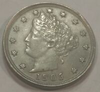 1905 UNC LIBERTY V NICKEL. LIGHTLY CLEANED, HAS SOME HAIRLINES.
