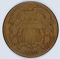 1870 TWO CENT PIECE 2C SOLID VG  GOOD CHOCOLATE BROWN 8802