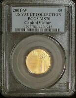 2001 W PCGS MS70 CAPITOL VISITOR US VAULT COLLECTION COMMEMO