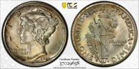 1935 S PCGS MS65 FB GEM ORIGINAL TONED MERCURY DIME WITH A T