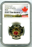 2018 CANADA $2 TOONIE NGC MS66 COLOR POPPY ARMISTICE 100TH A