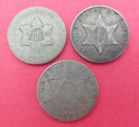 LOT OF 3 SILVER COINS   3 CENT PIECE  1852 1857 1859 3C  NIC