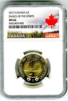 2017 CANADA $2 TOONIE NGC MS66 DANCE OF SPIRITS 150TH ANNIV