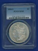 1898 S PCGS EXTRA FINE 45 MORGAN SILVER DOLLAR $1  DATE 1898-S PCGS EXTRA FINE 45 PQ COIN
