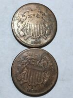 LOT OF TWO COPPER US TWO CENT PIECES. 2C. 1869 CLEANED VG, 1865  CLEANED AG.