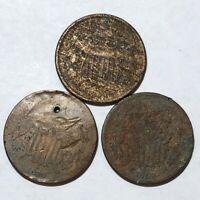 LOT OF THREE COPPER US TWO CENT PIECE CULLS. 2C. 1864, 1869, 1869.