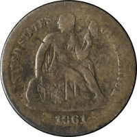 1861-S SEATED LIBERTY DIME GISH KEY DATE DECENT EYE APPEAL