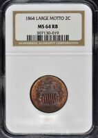 1864 LARGE MOTTO 2 CENT NGC MINT STATE 64 RB