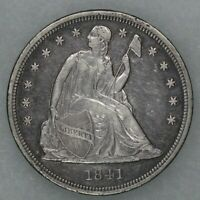 1841 SEATED LIBERTY ONE DOLLAR $1 TYPE 3 NO MOTTO EXTRA FINE 9539