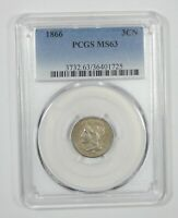 1866 NICKEL THREE-CENT PIECE CERTIFIED PCGS MINT STATE 63 3C