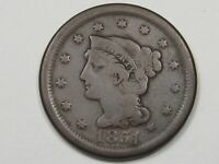 1851 US BRAIDED HAIR LARGE CENT COIN.  17