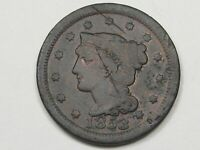 1853 US BRAIDED HAIR LARGE CENT COIN 1 OVER 1?.  20