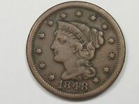 1848 US BRAIDED HAIR LARGE CENT COIN.  19