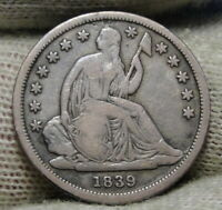 1839 O SEATED LIBERTY DIME 10C  -  COIN, SHIPS FREE 8475