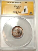 1909-VDB RED-BROWN GEM BU LINCOLN WHEAT CENT. ANACS MINT STATE 64 RB LOT11