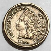 1860 EXTRA FINE  COPPER/NICKEL INDIAN HEAD CENT. LOT1