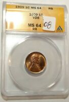 1909-VDB RED-BROWN GEM BU LINCOLN WHEAT CENT. ANACS MINT STATE 64 RB LOT08